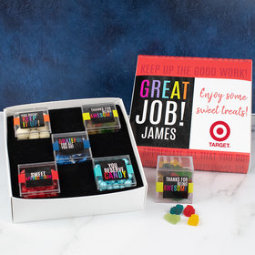 Personalized Appreciation Premium Gift Box with 5 JUST CANDY® favor cubes - Great Job! Add Your Logo