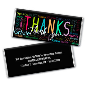 Personalized Thanks Language Chocolate Bar & Wrapper