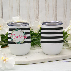 Personalized Wine Tumbler (12oz) - Floral Name