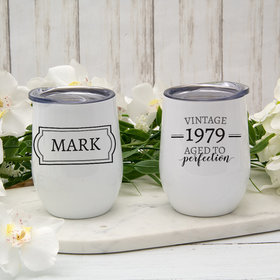 Personalized Wine Tumbler (12oz) - Aged to Perfection