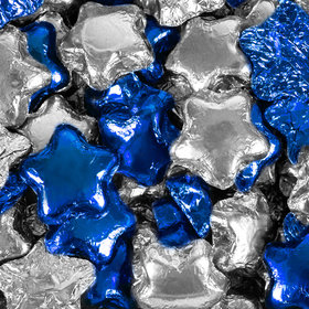 Madelaine Milk Chocolate Stars Blue & Silver Foil Mix