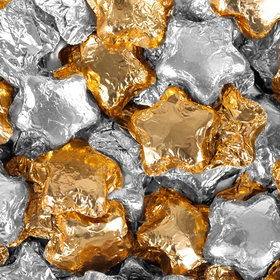 Madelaine Milk Chocolate Stars Gold & Silver Foil Mix