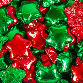 Madelaine Milk Chocolate Stars Green & Red Foil Mix