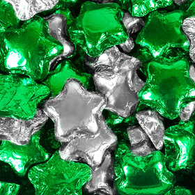 Madelaine Milk Chocolate Stars Green & Silver Foil Mix