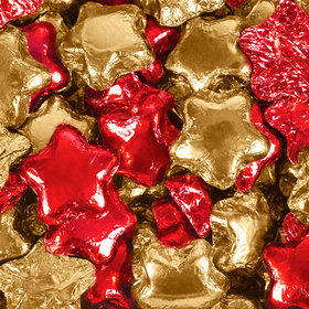 Madelaine Milk Chocolate Stars Red & Gold Foil Mix