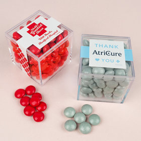 Personalized Nurse Appreciation JUST CANDY® favor cube with Just Candy Milk Chocolate Minis