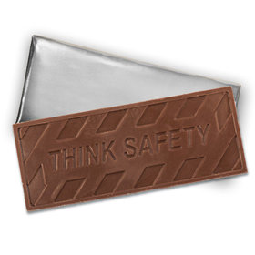Embossed Think Safety Belgian Milk Chocolate Bar (12 Pack)