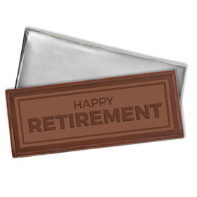 Embossed Happy Retirement Belgian Milk Chocolate Bar (12 Pack)