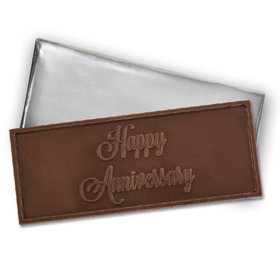 Embossed Happy Anniversary Belgian Milk Chocolate Bar (12 Pack)