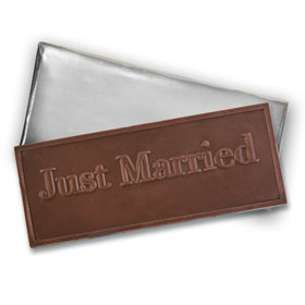 Embossed Just Married Belgian Milk Chocolate Bar (12 Pack)