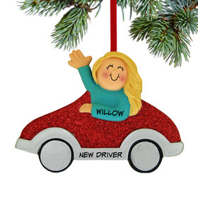 New Driver Girl (Red Car) Ornament