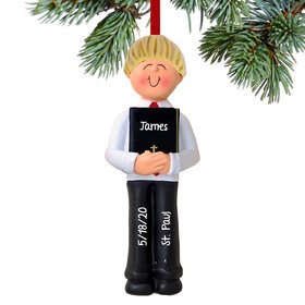 First Communion with Bible Boy Ornament