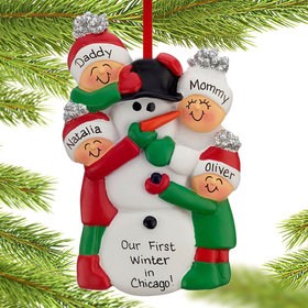 Building a Snowman Family of 4 Ornament