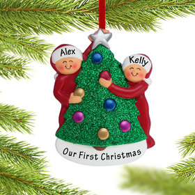 Couple Decorating the Tree Ornament