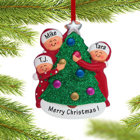 Family Decorating the Tree 3 Ornament
