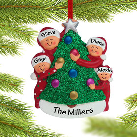 Family Decorating the Tree 4 Ornament