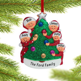 Family Decorating the Tree 5 Ornament