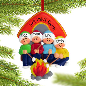 Camping Family of 4 Ornament