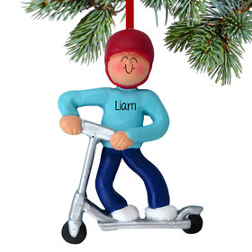 Silver Scooter Boy Ornament