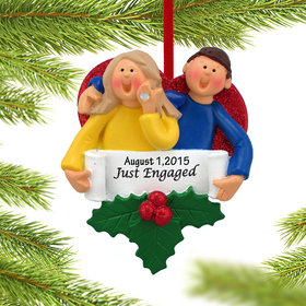 Just Engaged Happy Couple Ornament