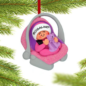 Baby Girl in Carrier Ornament