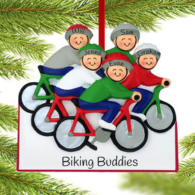 Bike Riding Family of 5 Ornament