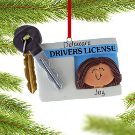 License with Key Girl Ornament