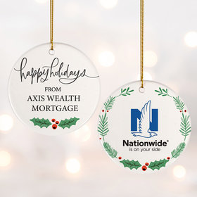 Add Your Logo Happy Holidays Ornament