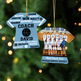Best Coach Basketball with Image - Purple Ornament