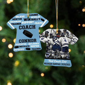 Best Coach Hockey with Image - Purple Ornament