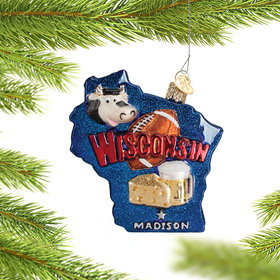 State of Wisconsin Outline Ornament