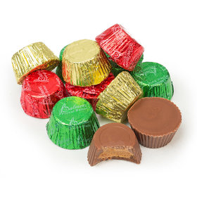 Just Candy Green, Red, and Gold Foil Peanut Butter Cups