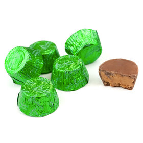 Just Candy Green Foil Peanut Butter Cups (3lb Bag)