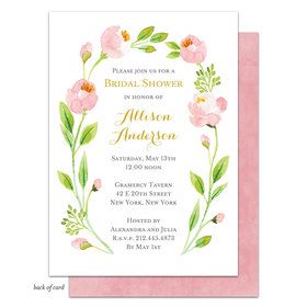 Bonnie Marcus Collection Personalized Pink Botanical Wreath Invitation