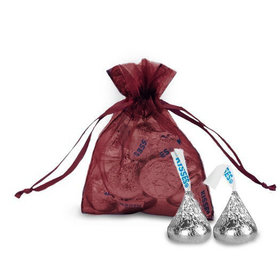Extra Small Burgundy Organza Bag - Pack of 12