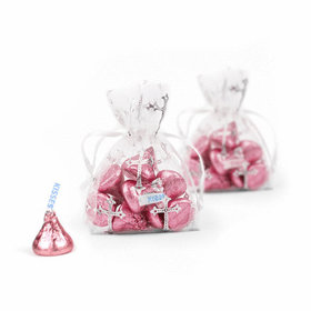 Silver Cross Organza Bags with Light Pink Hershey's Kisses