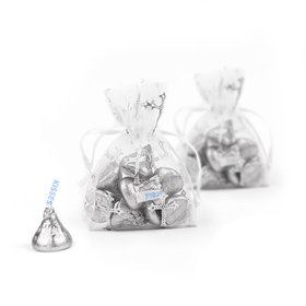 Silver Cross Organza Bags with Silver Hershey's Kisses