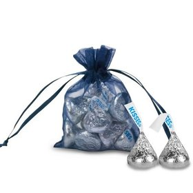 Extra Small Navy Blue Organza Bag - Pack of 12