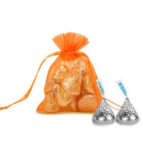 Extra Small Orange Organza Bag - Pack of 12