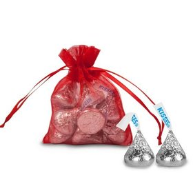 Extra Small Red Organza Bag - Pack of 12