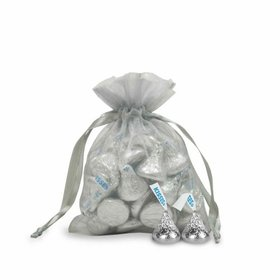 Small Silver Organza Bag - Pack of 12