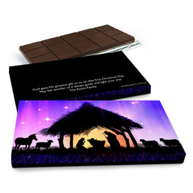 Deluxe Personalized Christmas Holy Night Chocolate Bar in Gift Box (3oz Bar)