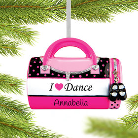 I Love Dance Bag Ornament
