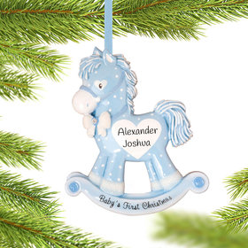 Blue Rocking Horse Baby's 1st Ornament