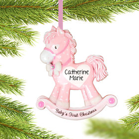 Pink Rocking Horse Baby's 1st Ornament