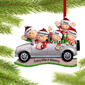 SUV Family of 5 Ornament
