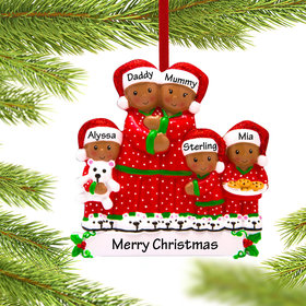 African American Pajama Family of 5 Ornament
