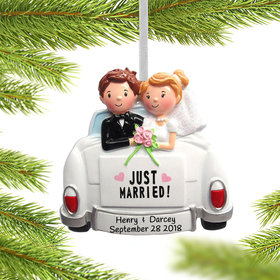 Just Married Couple in Car Ornament
