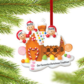 Gingerbread House Family of 3 Ornament