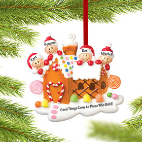 Gingerbread House Family of 4 Ornament